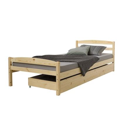 Natur säng 90x200 med en förvaringslåda