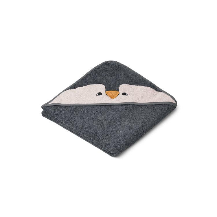 Liewood Albert penguin stone grey, handduk med huva för nyfödda