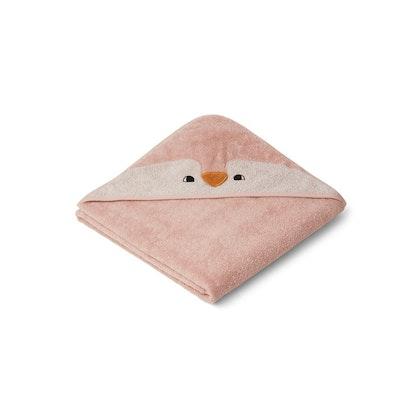 Liewood Albert penguin rose, handduk med huva för nyfödda
