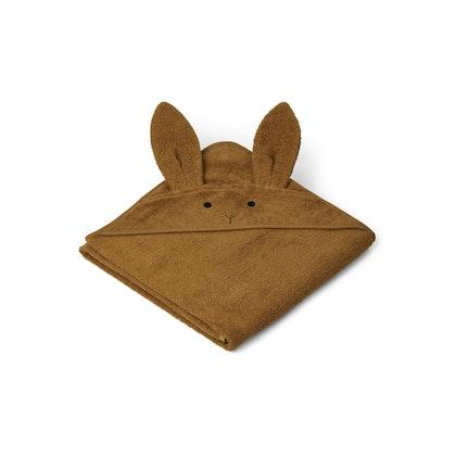 Liewood Albert rabbit olive green, handduk med huva för nyfödda