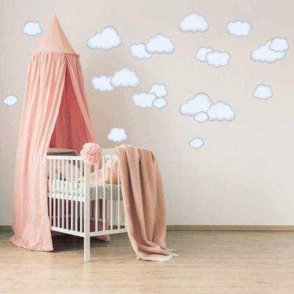 Babylove, vita moln wallstickers 22 st.