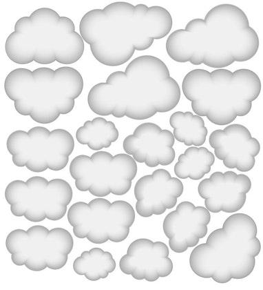 Babylove, grå moln wallstickers 22 st.