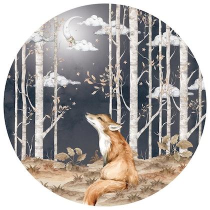 Dekornik ,fox in a circle, väggklistermärken till barnrum