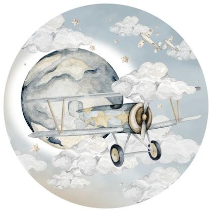 Dekornik ,plane in a circle, väggklistermärken till barnrum