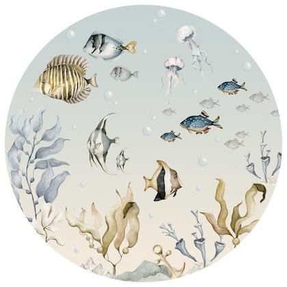 Dekornik ,sea world in a circle, väggklistermärken till barnrum