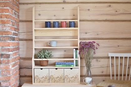 Vägghylla med tre lådor, natur Cameleon