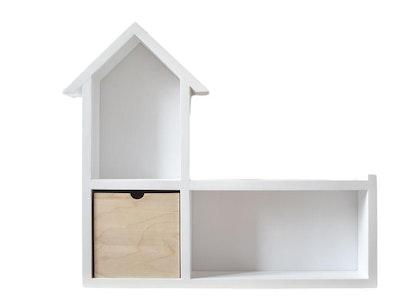 Stor vägghylla till barnrummet med låda