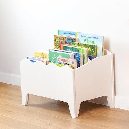 Förvaringslåda för böcker till barnrummet, vit
