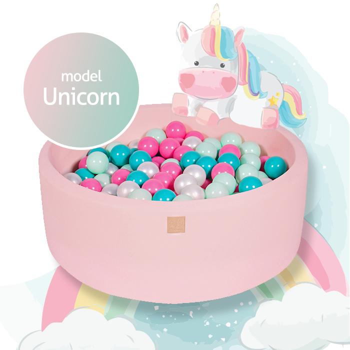 Meow, rosa bollhav med 250 bollar, Unicorn