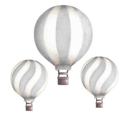 Ljusgrå luftballonger vintage väggklistermärken, Stickstay