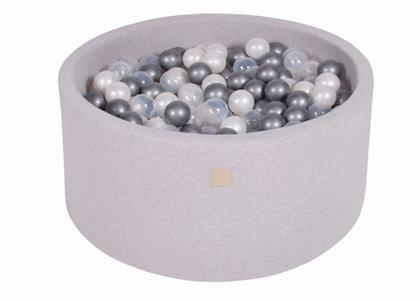 Meow, ljusgrå bollhav 90x40 med 300 bollar (silver, pearl,transparent)