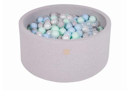 Meow, ljusgrå bollhav 90x40 med 300 bollar (pearl,grey,transparent,mint,baby blue)