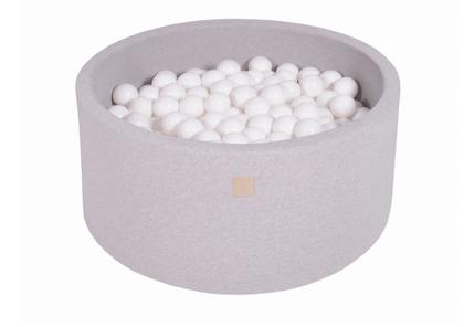 Meow, ljusgrå bollhav 90x40 med 300 vita bollar