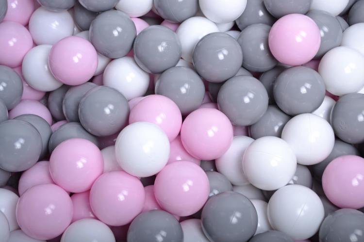 Meow, ljusgrå bollhav 90x40 med 300 bollar (grey, white, pastel pink)