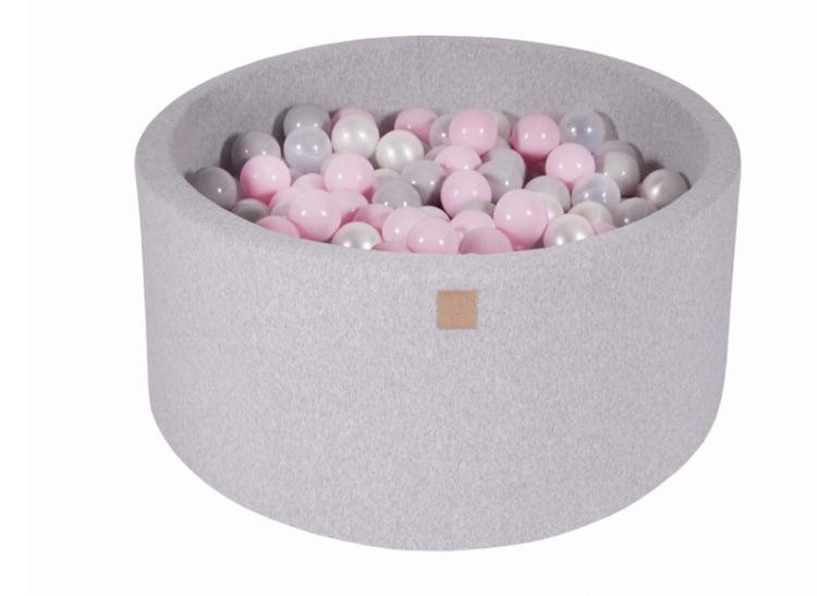 Meow, ljusgrå bollhav 90x40 med 300 bollar (pastel pink, pearl, grey)