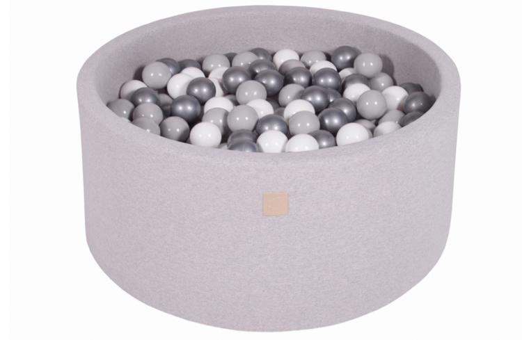 Meow, ljusgrå bollhav 90x40 med 300 bollar (white, silver, grey)