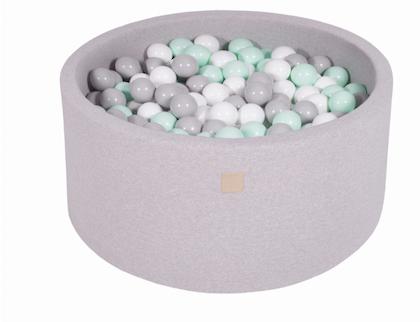 Meow, ljusgrå bollhav 90x40 med 300 bollar (white, grey, mint)
