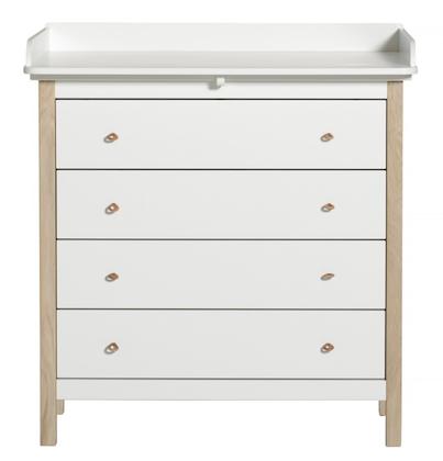 Oliver Furniture, skötbord vit/ek