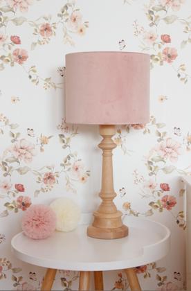 Bordslampa till barnrummet , rosa sammet