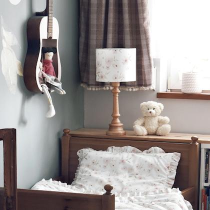 Bordslampa till barnrummet ,blossom/trä sammet