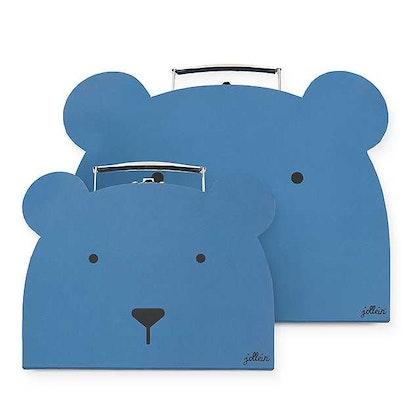 Jollein,förvaringslådor koffert 2 pack, animal club steel blue