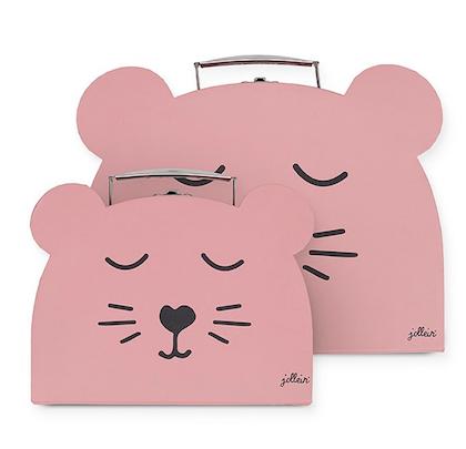 Jollein,förvaringslådor koffert 2 pack, animal club rouge