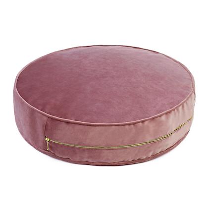 Stor dusty pink sittpuff i sammet