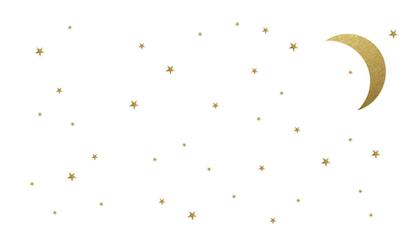 Babylove, väggklistermärke guld måne med stjärnor