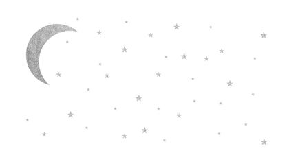 Babylove, väggklistermärke silver måne med stjärnor