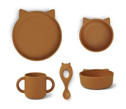 Liewood, Vivi silikon matset 4 delar, cat mustard