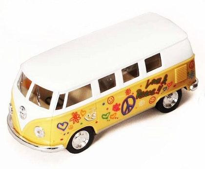 Leksaksbil stor Volkswagen pastell buss flower gul