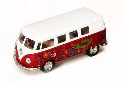 Leksaksbil stor Volkswagen pastell buss flower röd