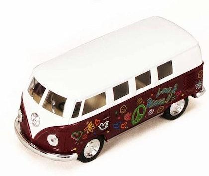Leksaksbil stor Volkswagen pastell buss flower lila