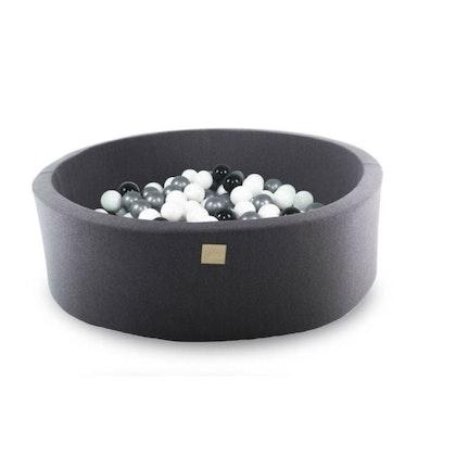 Meow, mörkgrå bollhav med 200 bollar, Svart/Vit