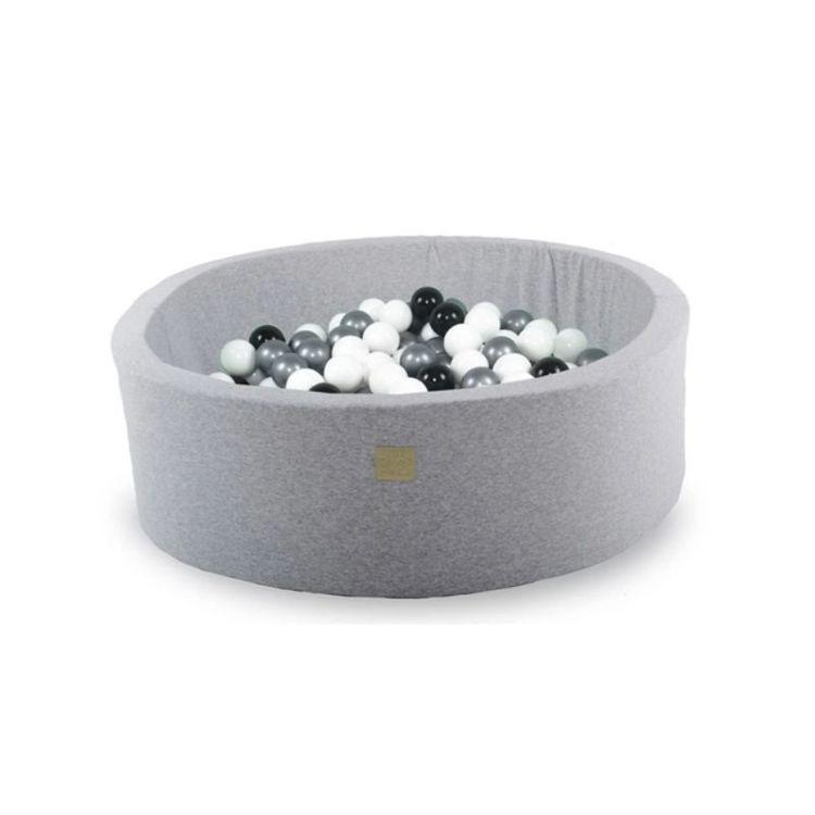 Meow, ljusgrå bollhav med 200 bollar, Svart/Vit