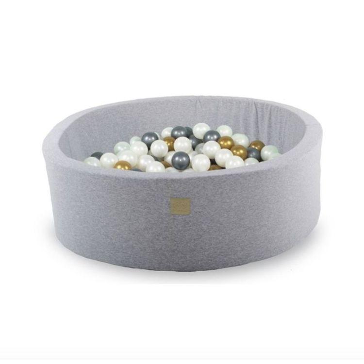 Meow, ljusgrå bollhav med 200 bollar, Silver/Guld