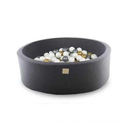 Meow, mörkgrå bollhav med 200 bollar, Silver/Guld