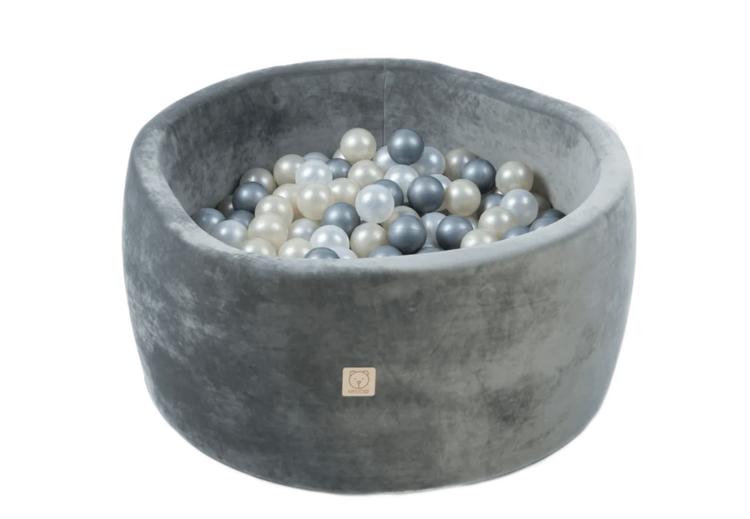 Grå Sammets bollhav med 200 valfria bollar - Misioo