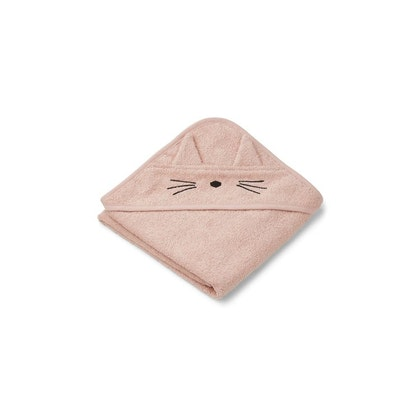 Liewood Albert cat rose, handduk med huva för nyfödda