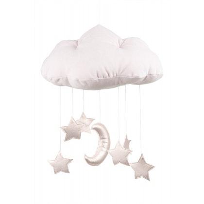 Ljusrosa sängmobil moln med rosa stjärnor, Cotton & Sweets