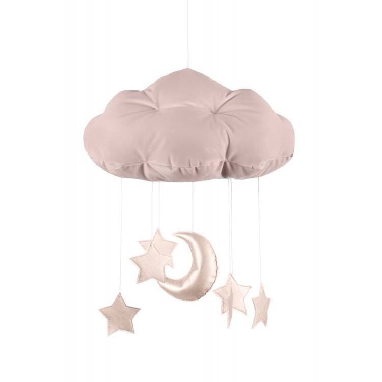 Puderrosa sängmobil moln med rosa stjärnor, Cotton & Sweets