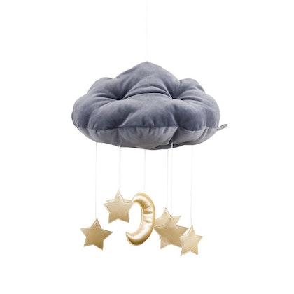 Grafitgrå sängmobil moln med guldstjärnor, Cotton & Sweets