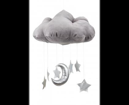 Grå sängmobil moln med silverstjärnor, Cotton & Sweets