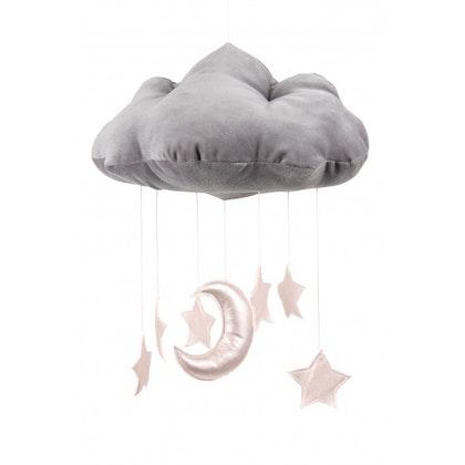 Grå sängmobil moln med rosastjärnor, Cotton & Sweets