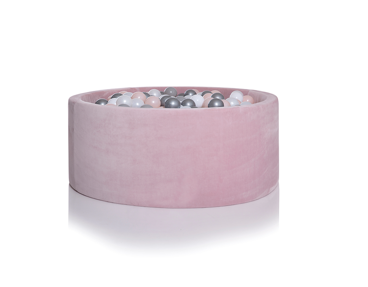 Kidkii lite, rosa sammet bollhav med 150 bollar