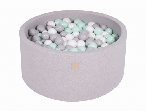 Meow, ljusgrå bollhav 90x40 med 200 valfria bollar