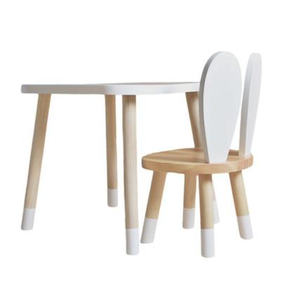 Vit/natur möbelset till barn, bord och stol