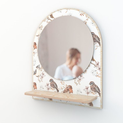Dekornik, spegel birds white