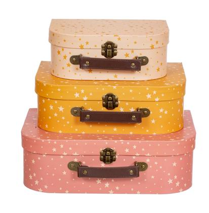 Sass & Belle, förvaringslådor koffert little stars, 3-pack
