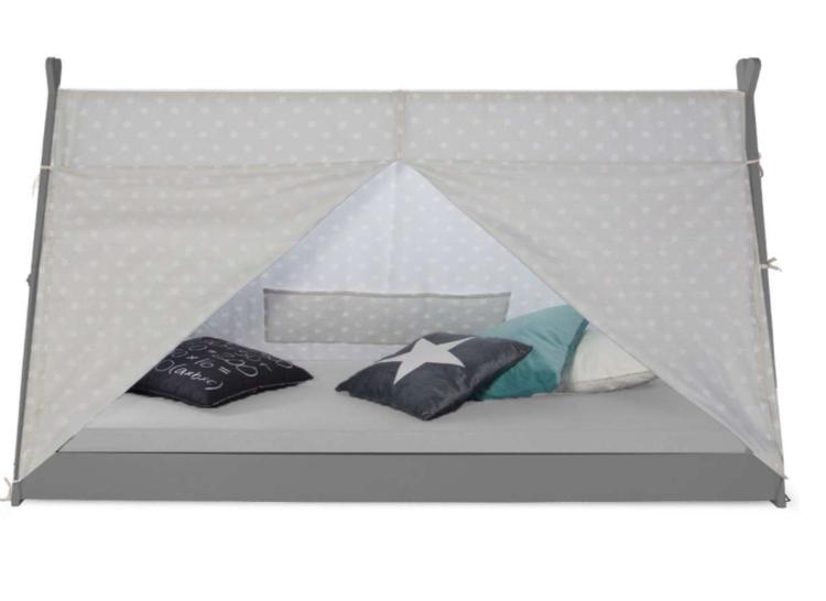 Grå hussäng tipi med gardin 90x200